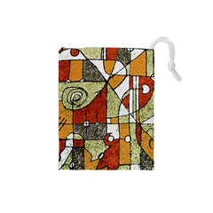Multicolored Abstract Tribal Print Drawstring Pouch (Small)