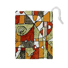 Multicolored Abstract Tribal Print Drawstring Pouch (Large)