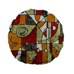 Multicolored Abstract Tribal Print Standard Flano Round Cushion