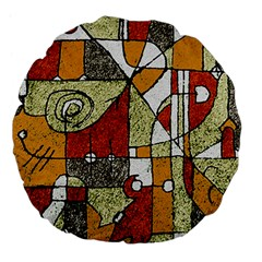 Multicolored Abstract Tribal Print Large Flano Round Cushion