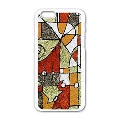 Multicolored Abstract Tribal Print Apple iPhone 6 White Enamel Case