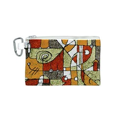 Multicolored Abstract Tribal Print Canvas Cosmetic Bag (Small)