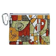 Multicolored Abstract Tribal Print Canvas Cosmetic Bag (large)