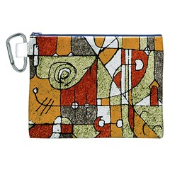 Multicolored Abstract Tribal Print Canvas Cosmetic Bag (XXL)