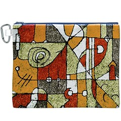 Multicolored Abstract Tribal Print Canvas Cosmetic Bag (xxxl)
