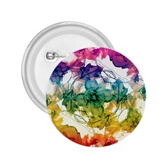 Multicolored Floral Swirls Decorative Design 2 25  Button