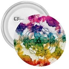 Multicolored Floral Swirls Decorative Design 3  Button