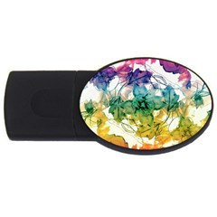 Multicolored Floral Swirls Decorative Design 2gb Usb Flash Drive (oval)