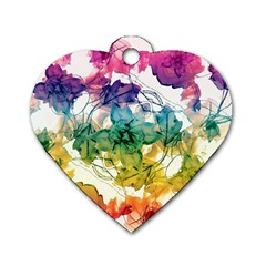 Multicolored Floral Swirls Decorative Design Dog Tag Heart (one Sided)
