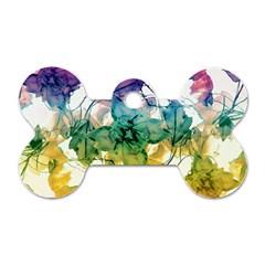 Multicolored Floral Swirls Decorative Design Dog Tag Bone (two Sided)