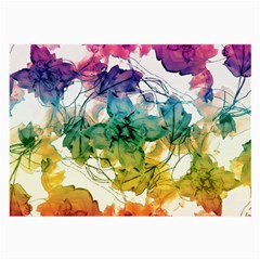 Multicolored Floral Swirls Decorative Design Glasses Cloth (large, Two Sided)