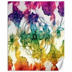 Multicolored Floral Swirls Decorative Design Canvas 11  x 14  (Unframed)