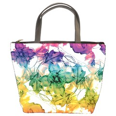 Multicolored Floral Swirls Decorative Design Bucket Handbag