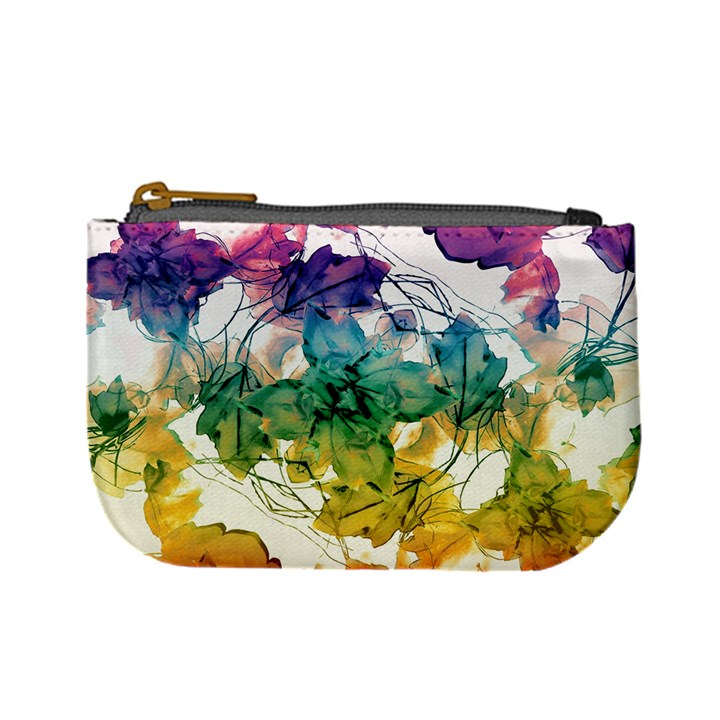 Multicolored Floral Swirls Decorative Design Coin Change Purse
