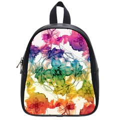 Multicolored Floral Swirls Decorative Design School Bag (small)