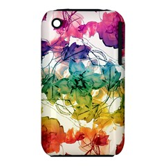 Multicolored Floral Swirls Decorative Design Apple iPhone 3G/3GS Hardshell Case (PC+Silicone)