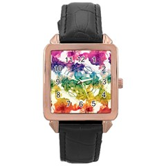 Multicolored Floral Swirls Decorative Design Rose Gold Leather Watch