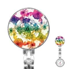 Multicolored Floral Swirls Decorative Design Stainless Steel Nurses Watch