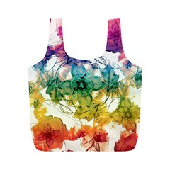 Multicolored Floral Swirls Decorative Design Reusable Bag (m)