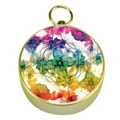 Multicolored Floral Swirls Decorative Design Gold Compass