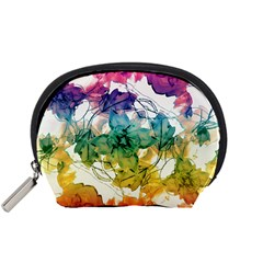 Multicolored Floral Swirls Decorative Design Accessory Pouch (Small)