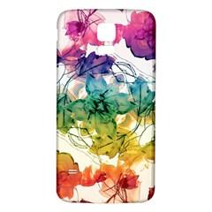 Multicolored Floral Swirls Decorative Design Samsung Galaxy S5 Back Case (White)