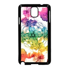 Multicolored Floral Swirls Decorative Design Samsung Galaxy Note 3 Neo Hardshell Case (Black)
