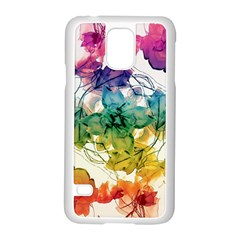 Multicolored Floral Swirls Decorative Design Samsung Galaxy S5 Case (White)