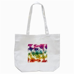 Multicolored Floral Swirls Decorative Design Tote Bag (White)