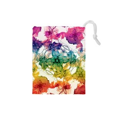 Multicolored Floral Swirls Decorative Design Drawstring Pouch (Small)