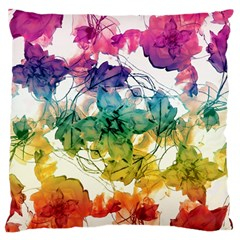 Multicolored Floral Swirls Decorative Design Large Flano Cushion Case (Two Sides)
