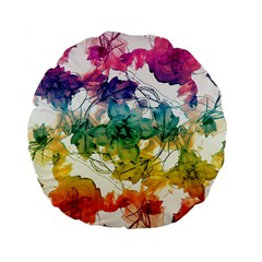 Multicolored Floral Swirls Decorative Design Standard Flano Round Cushion