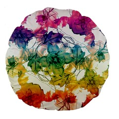 Multicolored Floral Swirls Decorative Design Large Flano Round Cushion