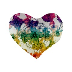 Multicolored Floral Swirls Decorative Design Standard Flano Heart Shape Cushion