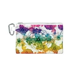Multicolored Floral Swirls Decorative Design Canvas Cosmetic Bag (Small)