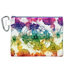 Multicolored Floral Swirls Decorative Design Canvas Cosmetic Bag (XL)