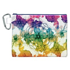 Multicolored Floral Swirls Decorative Design Canvas Cosmetic Bag (XXL)