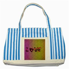 Love Abstract  Blue Striped Tote Bag