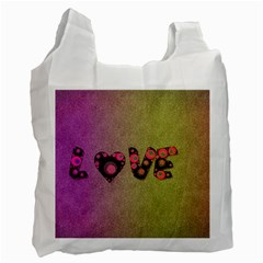 Love Abstract  White Reusable Bag (two Sides)
