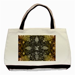 Abstract Earthtone  Twin-sided Black Tote Bag