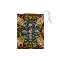 Abstract Earthtone  Drawstring Pouch (Small)