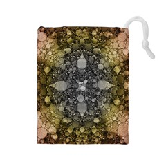 Abstract Earthtone  Drawstring Pouch (Large)