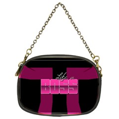 Like A Boss Shiny Pink Chain Purse (two Sided)
