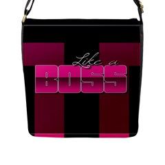 Like A Boss Shiny Pink Flap Closure Messenger Bag (large)