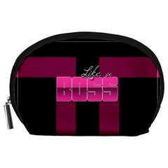 Like A Boss Shiny Pink Accessory Pouch (Large)
