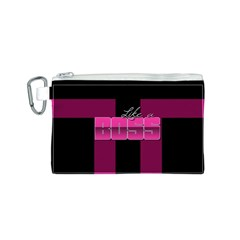 Like A Boss Shiny Pink Canvas Cosmetic Bag (small)