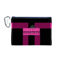 Like A Boss Shiny Pink Canvas Cosmetic Bag (medium)