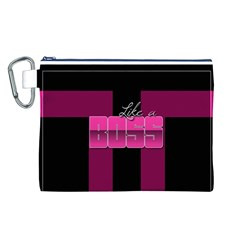 Like A Boss Shiny Pink Canvas Cosmetic Bag (Large)