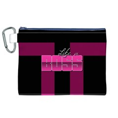 Like A Boss Shiny Pink Canvas Cosmetic Bag (XL)