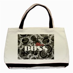 Like A Boss Blk&wht Twin-sided Black Tote Bag
